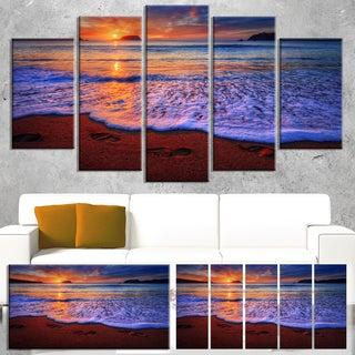 Designart 'Colorful Sunset Over Beautiful Shore' Seashore Art Print on Canvas (As Is Item)