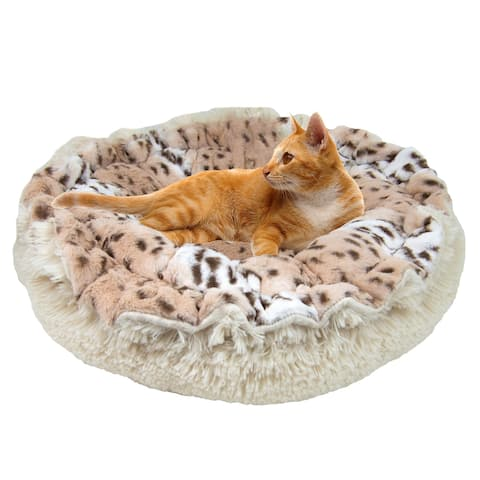 """Bessie and Barnie Ultra Plush Aspen Snow Leopard/ Blondie Deluxe Shag Dog/ Pet Lily Pod Bed - 24"""""""
