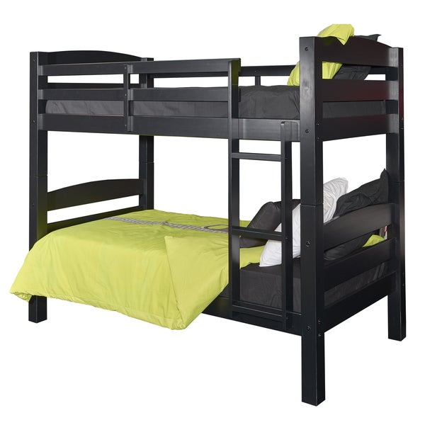 Shop Powell Levi Black Wood Twin Over Twin Bunk Bed Free Shipping