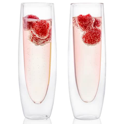 Epare Champagne Flutes, Insulated Stemless Glasses, Two 5oz Flute Cups