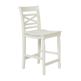 Powell Asher White Wood Counter Stool