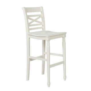 Powell Asher White Wood Bar Stool