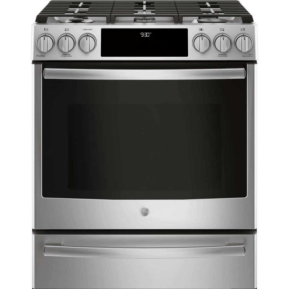 """GE  Profile Series 30"""" Dual Fuel Slide-In Front Control Ran - Stainless Steel (Assembled - Stainless Steel - Dual)"""
