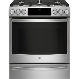 """GE Profile Series 30"""" Dual Fuel Slide-In Front Control Range