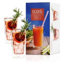 Eparé Drinking Glasses, Insulated Tumbler Set (12 oz, 350 ml) – Double Wall Thermal Glass - 2 Glasses