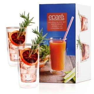 Eparé Drinking Glasses, Insulated Tumbler Set (12 oz, 350 ml)  Double Wall Thermal Glass - 2 Glasses