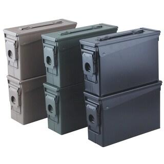 6pk .30 Cal Metal Ammo Cans, OD Green, Flat Dark Earth, Black
