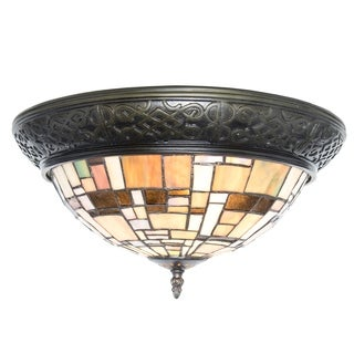 River of Goods Stained Glass Modern Lines Flush Mount Ceiling Lamp