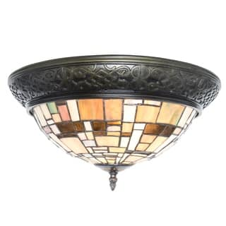 River Of Goods Stained Gl Modern Lines Flush Mount Ceiling Lamp