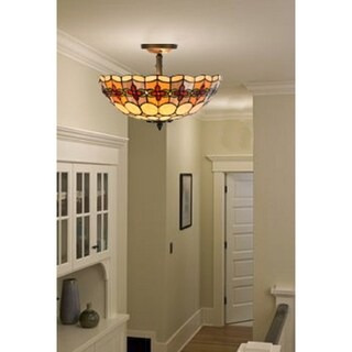 River of Goods Style Stained Glass Geometric Rosette Semi-Flush Mount Ceiling Lamp