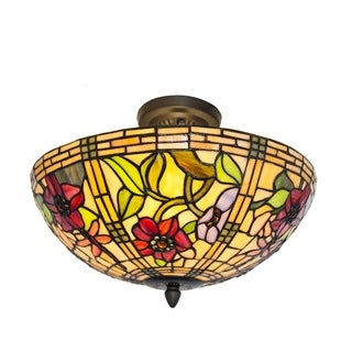 River of Goods Stained Glass Red Peonies Semi-Flush Mount Ceiling Lamp