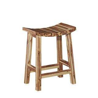 Powell Dale Brown Wood Saddle Counter Stool