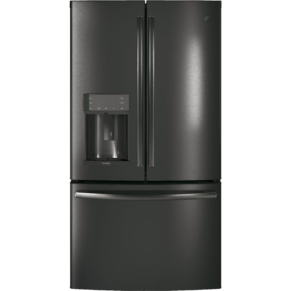 GE  Profile Series Black Stainless 22.2 Cu. Ft. Counter-Depth French-Door Refrirator with Door In Door and Hands-Free AutoFill (2 - Black - French