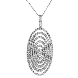14K White Gold 1.9 Carat Multi Oval Diamond Pendant