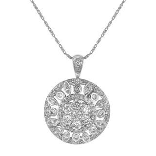 14K White Gol1.5 Carat Diamond Medallion Pendant