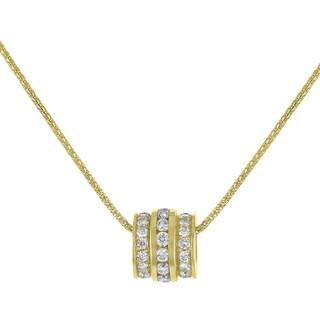14K Yellow Gold 1.47ct TW Diamond Barrel Pendant - White
