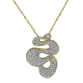 14K Yellow Gold 1.25 Diamond Pave Ribbon Pendant - White|https://ak1.ostkcdn.com/images/products/18257968/P24394753.jpg?impolicy=medium