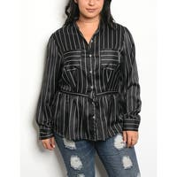 JED Women's Plus Size Long Sleeve Striped Button Down Shirt
