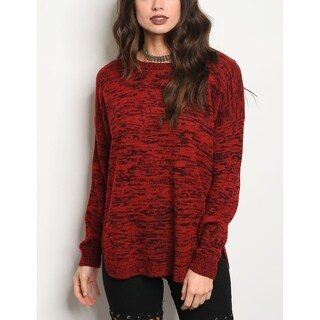 JED Women's Marled Long Sleeve Sweater with Back Button Details