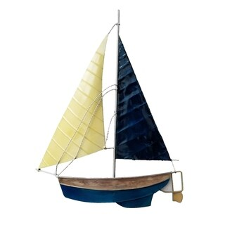 White And Blue Sailboat Wall Decor