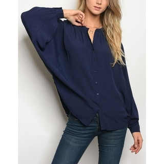 JED Women's Roomy Batwing Sleeve Button Down Shirt