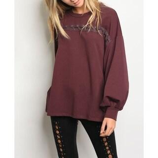 JED Women's Drop Sleeve Oversized Sweatshirt with Open Stich Details