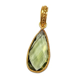 Handmade Gold Overlay Green Amethyst Pendant (India) - Pink