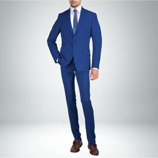 Carlo Studio Blue Textured Slim-Fit Suit