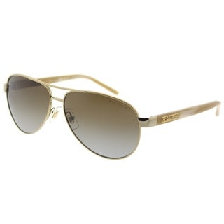 Ralph by Ralph Lauren Aviator RA 4004 101/T5 Unisex Gold Cream Frame Brown Gradient Polarized Lens Sunglasses