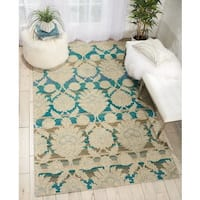 Nourison India House Ivory/Teal Wool Area Rug - 8' x 10'6""