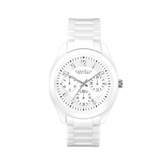 Caravelle NY Women's White Ceramic Chronograph Bracelet Watch