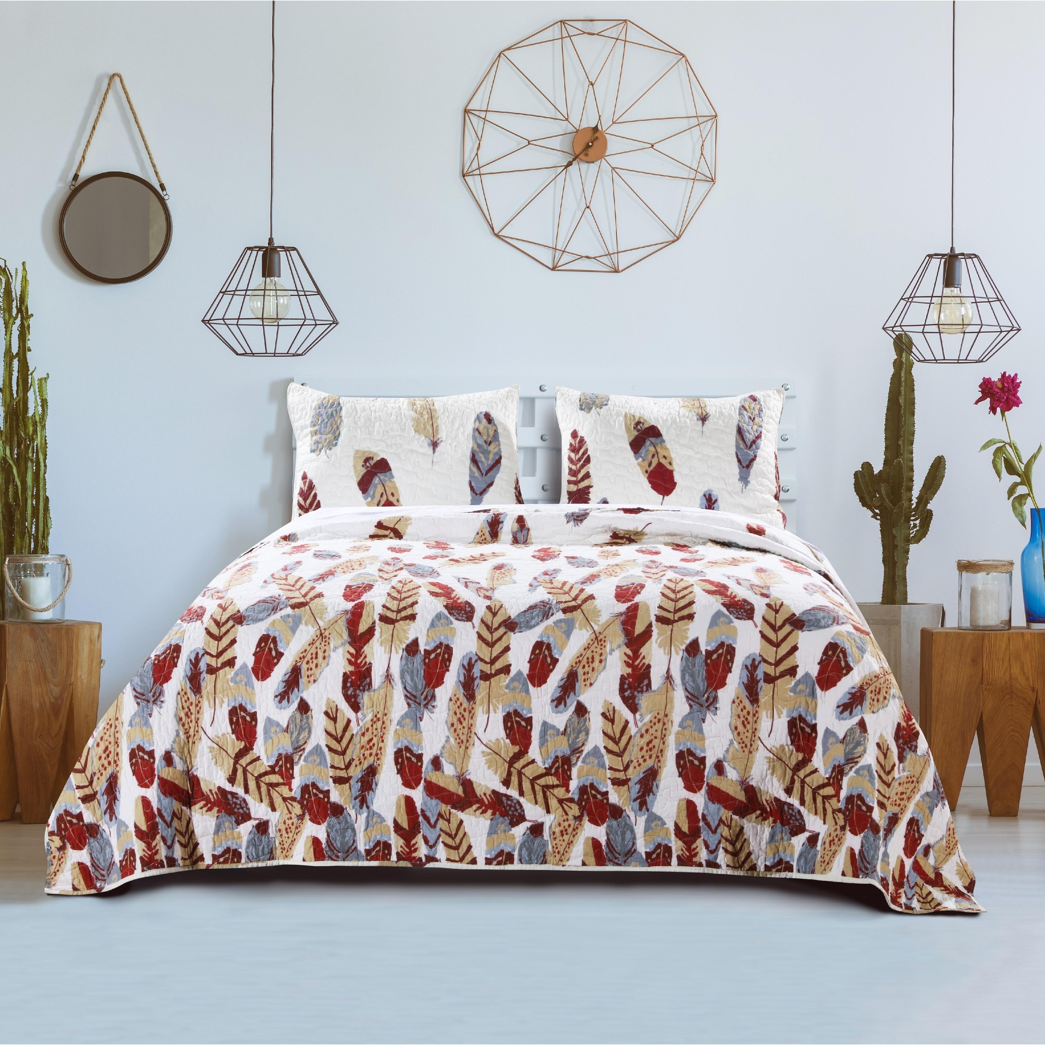 3 Piece Dream Catcher Quilt Set Western Bedspread Comforter Bedding Off-White
