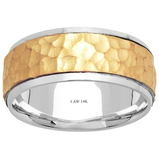 14k Two-Tone Gold Hammered Comfort-fit Men's Wedding Bands - Yellow