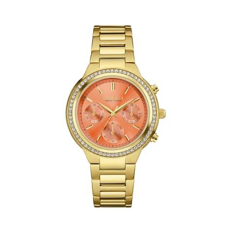 Caravelle Women's 44L218 Goldtone Stainless Swarovski Crystal Elements Bezel Chronograph Bracelet Watch - N/A