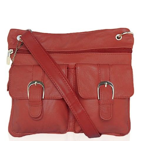 AFONiE Flat Soft Leather Crossbody Handbag