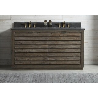 60 in. bathroom Vanity in Brown with Black Moon Stone Top