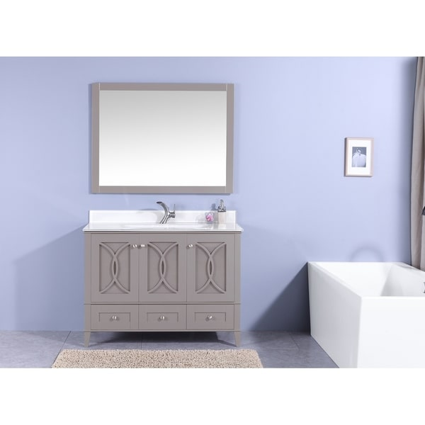 Shop 48 In Bathroom Vanity In Warm Gray With Tempered Glass Top And