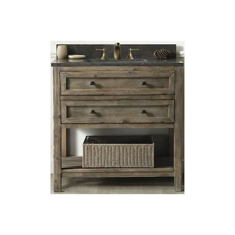 Bathroom Vanity In Rustic Brown With Moon Stone Top