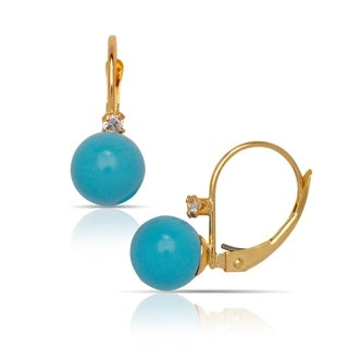 Solid 14K Yellow Created 7mm Gemstone Ball and Cubic Zirconia Stationary Leverback Drop Earrings (7mmx22mm)