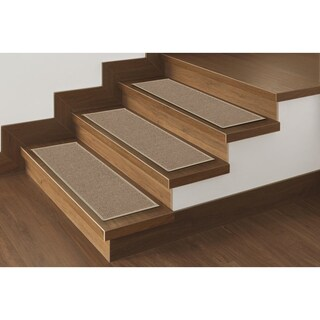 "Ottomanson Non-Slip Dark Beige Carpet Stair Treads (8.5"" x 26.5"")(Set of 14) - 8 Inch x 28 Inch"