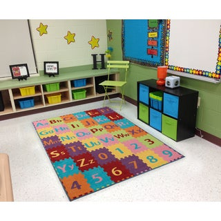 Ottomanson Multicolor Alphabet Letters and Numbers Kid's Play Area Rug (3' x 5')