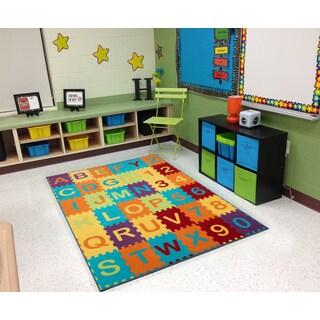 Ottomanson Multicolor Puzzle Educational Alphabet Children Kid's Play Area Rug (3' x 5')