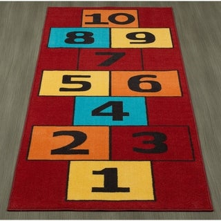"Ottomanson Children's Garden Collection Hopscotch Design Kid's Play Runner Rug, (3' x 6') - 2'6"" x 6'"