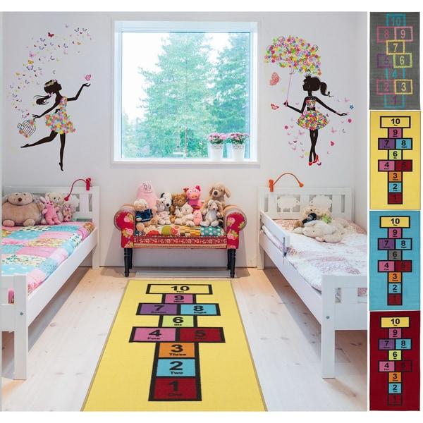 Shop Ottomanson Children's Garden Collection Hopscotch