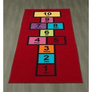 "Ottomanson Children's Garden Collection Hopscotch Design Kids Play Runner Rug, - 2'6"" x 6'"