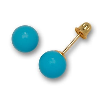 Solid 14K Yellow Gold Created Turquoise Ball Stud Screw-back Earrings (5 sizes) - Blue