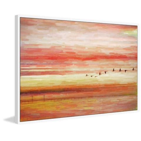 Handmade Flying South Floater Framed Print on Canvas