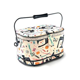 St Jane Sewing Basket Large Oval Metal Hndl Ntions