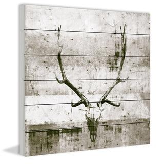Handmade Long Antlers Print on White Wood