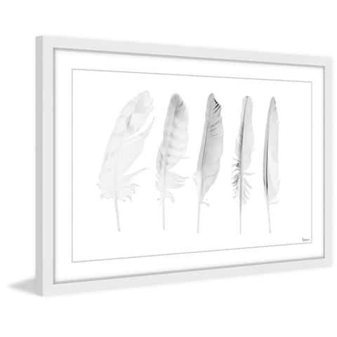 Handmade Five White Feathers II Framed Print